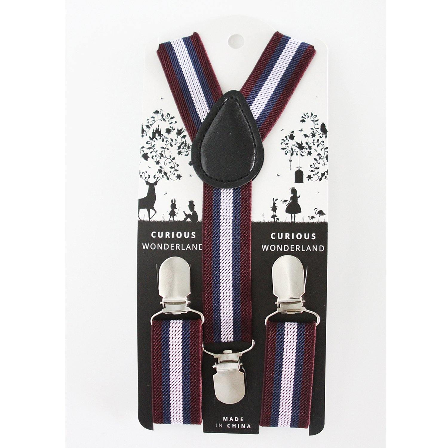 Striped Suspenders (Maroon/Navy/Mauve)
