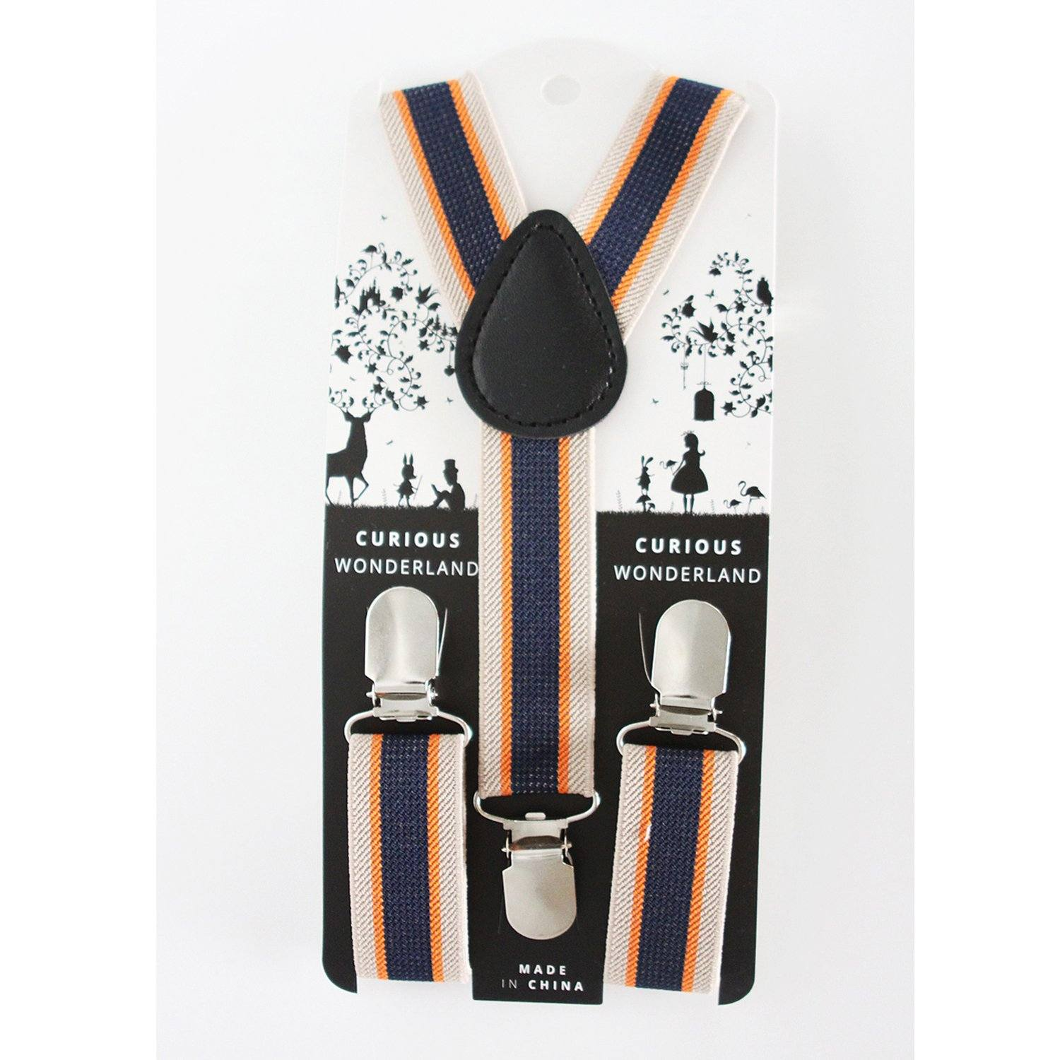 Striped Suspenders (Tan/Orange/Navy)