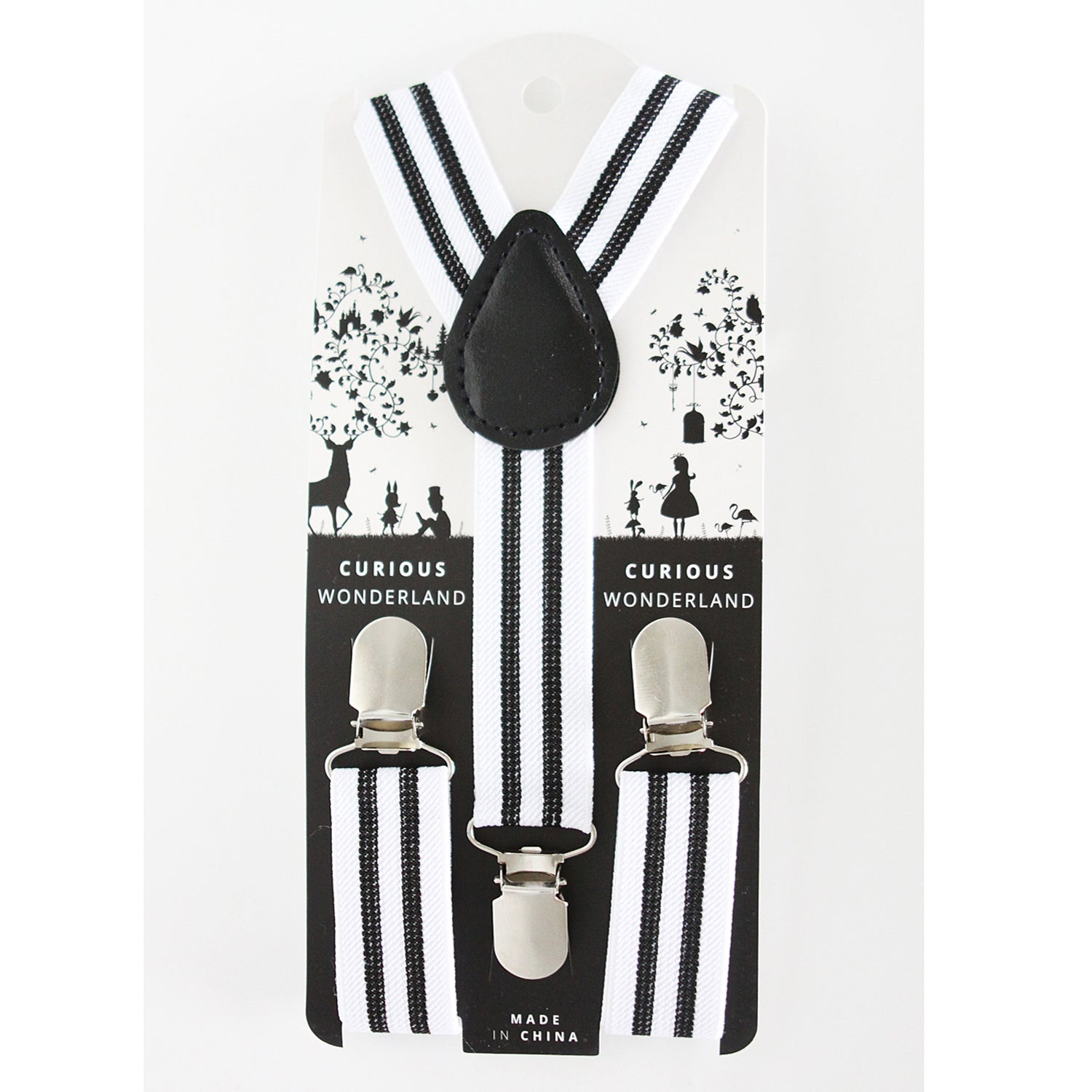 Striped Suspenders (White/Black)