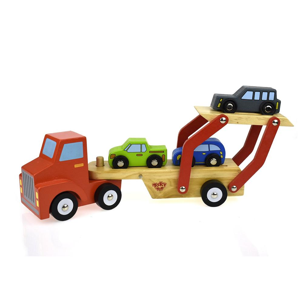 Red Carrier Truck with Cars