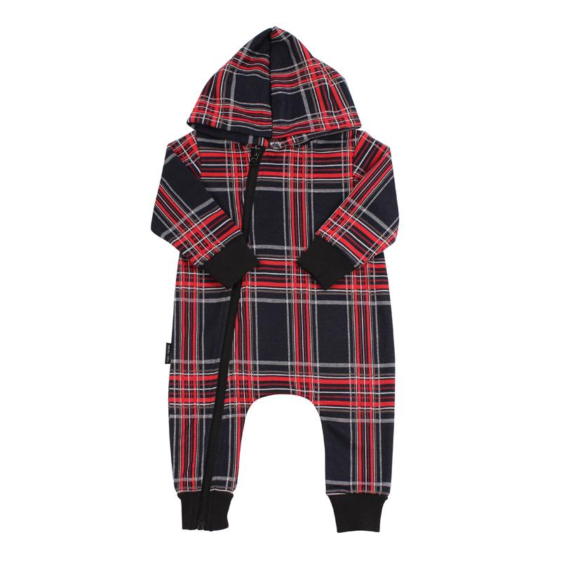 Check Hooded Romper