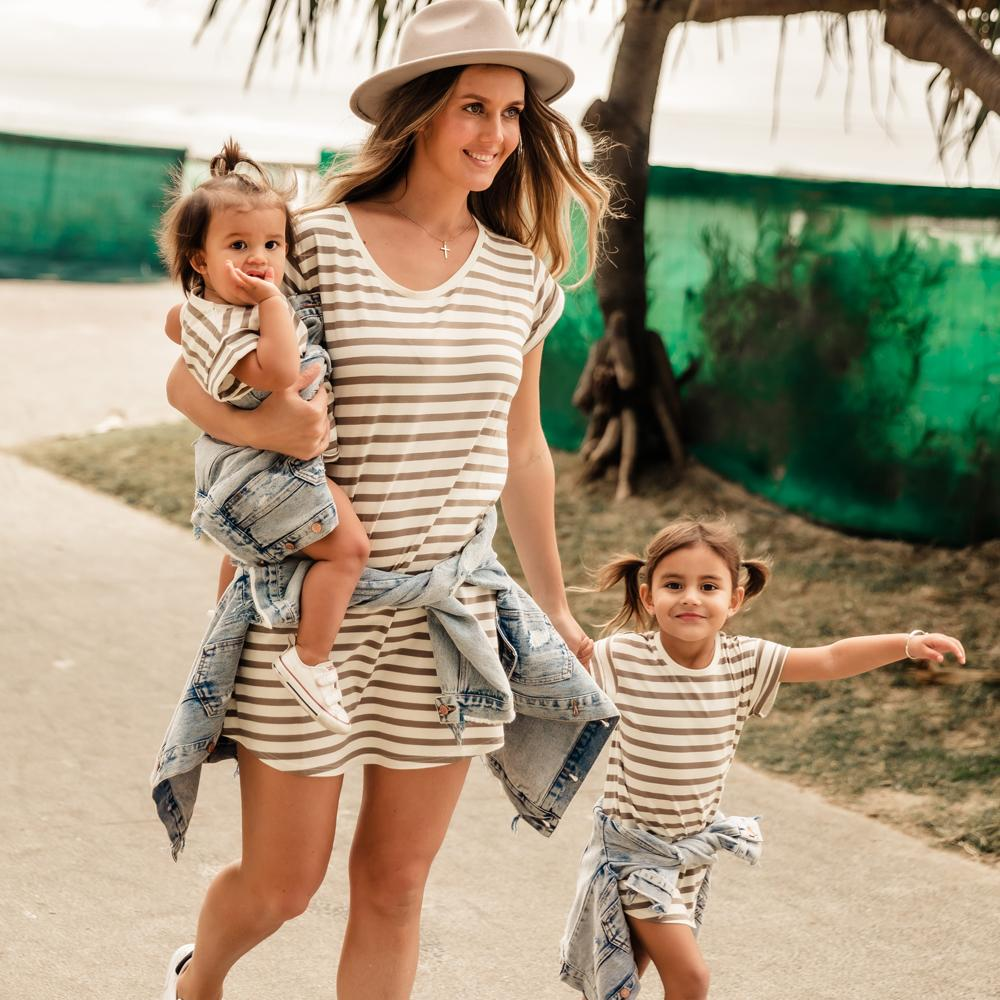 Taupe & White Striped Dress