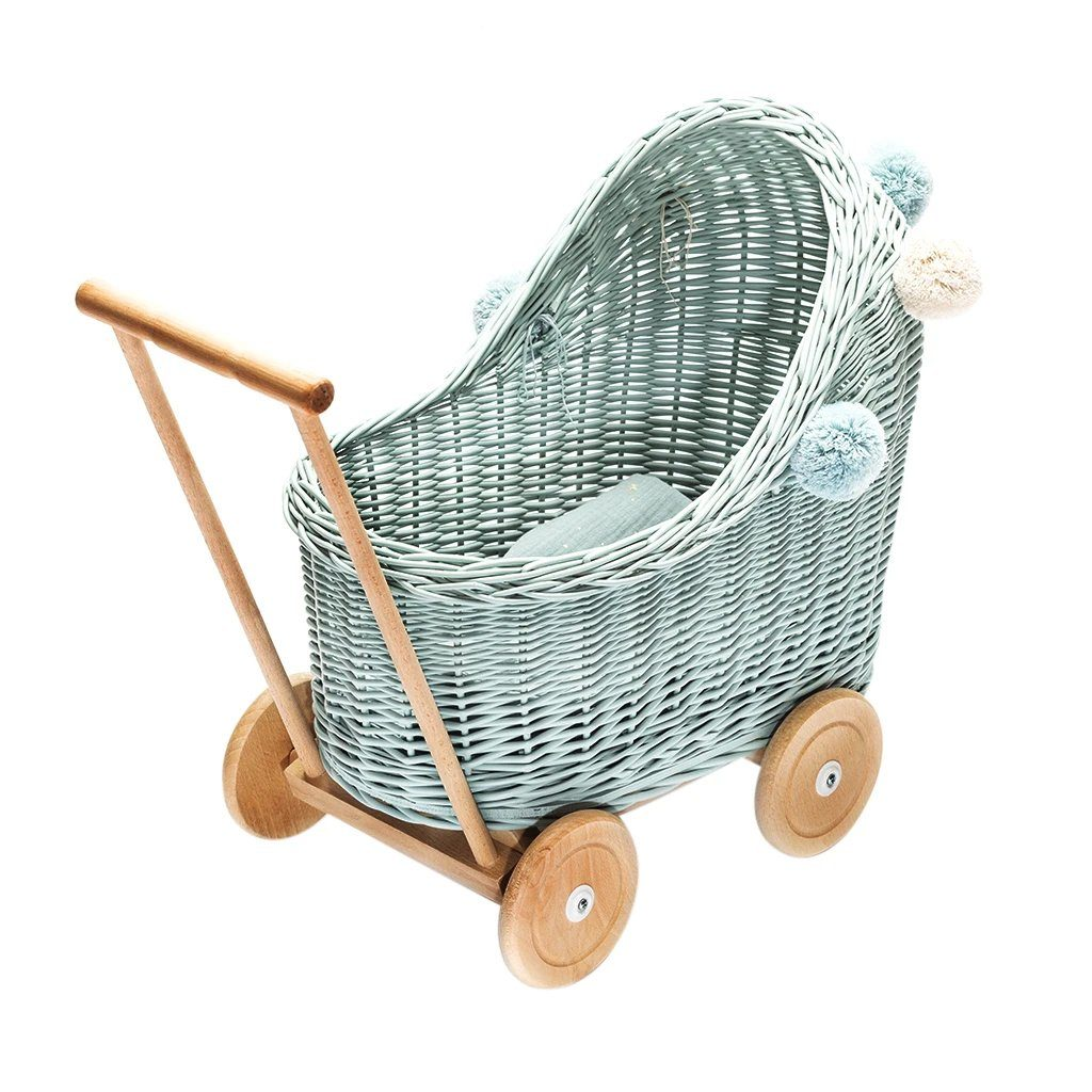 Wicker Pom Pom Dolls Pram (Dirty Mint)