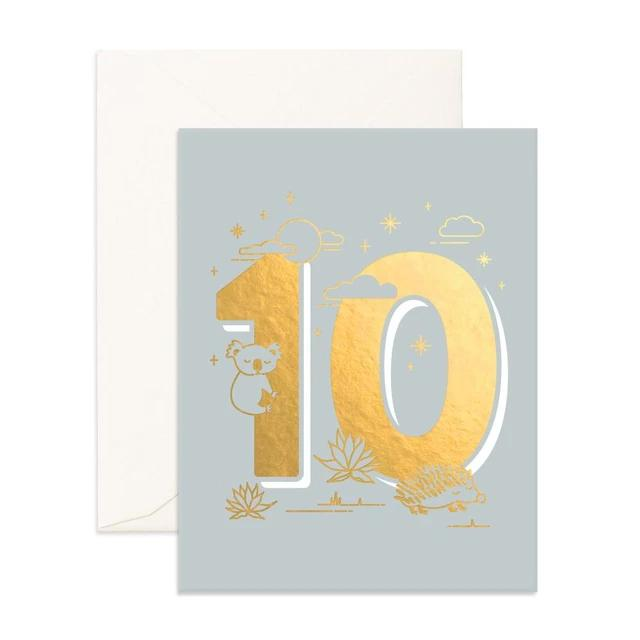 Number 10 Animals Greeting Card