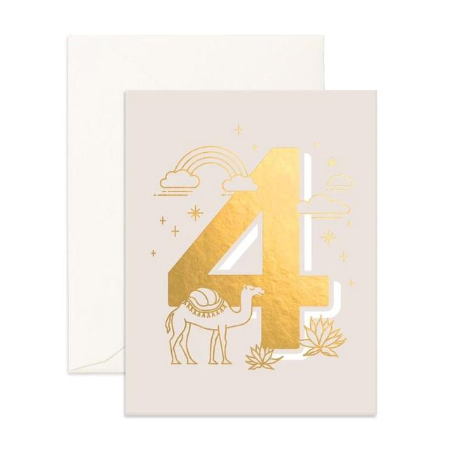 Number 4 Animals Greeting Card