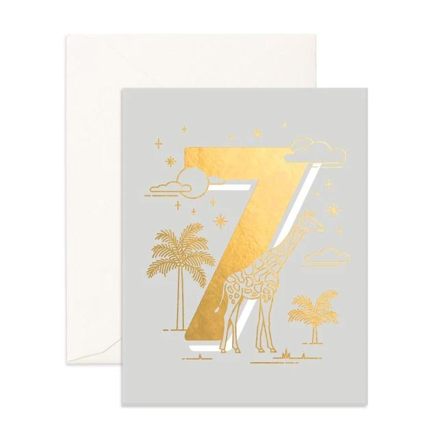 Number 7 Animals Greeting Card