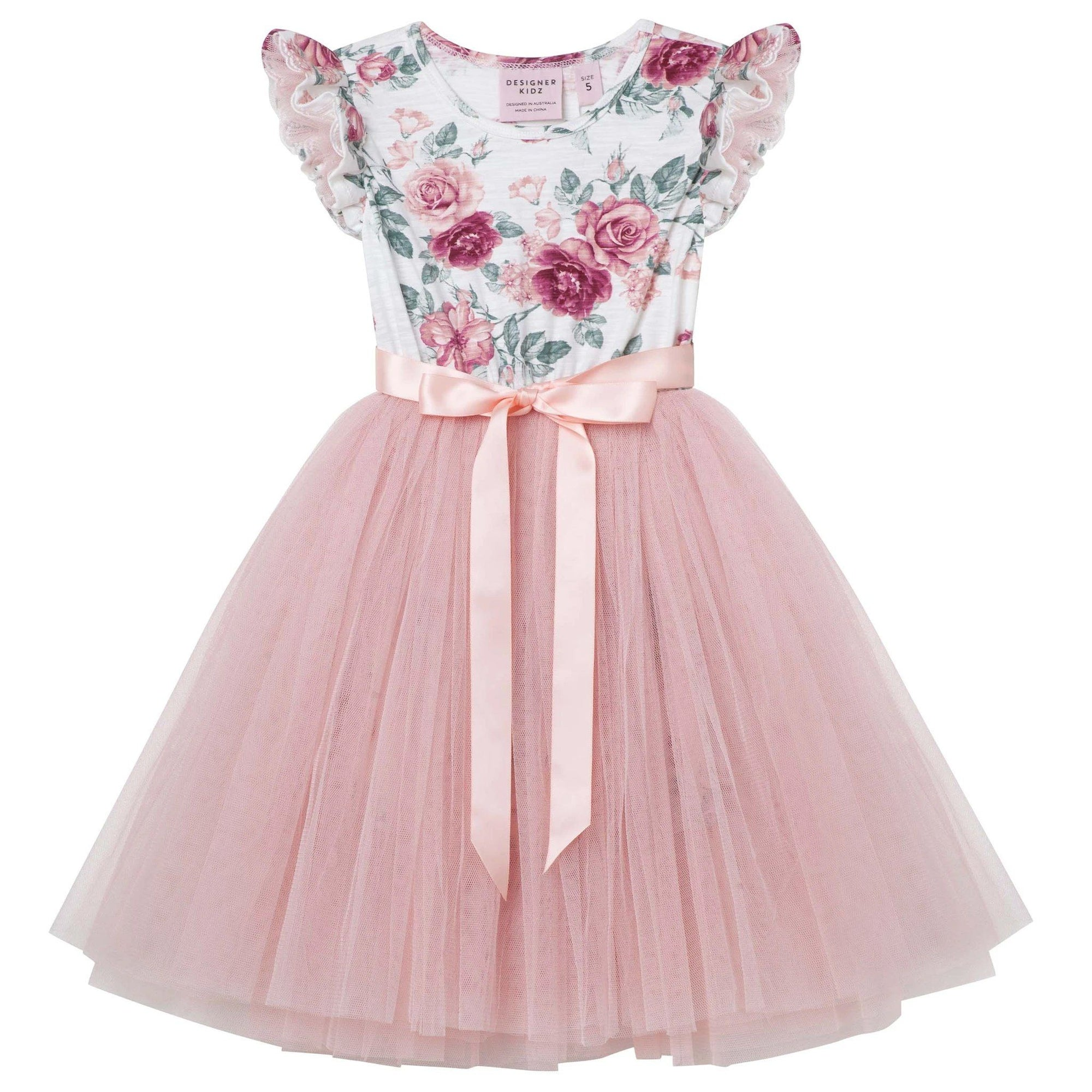Audrey Floral SS Tutu Dress (Tea Rose)