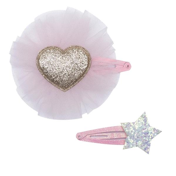 Gold Glitter Heart Clip Set
