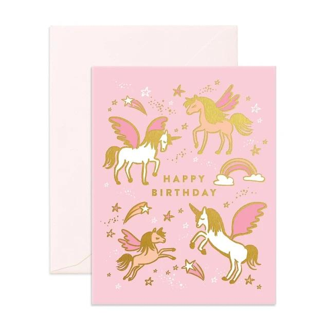 Birthday Unicorns Greeting Card