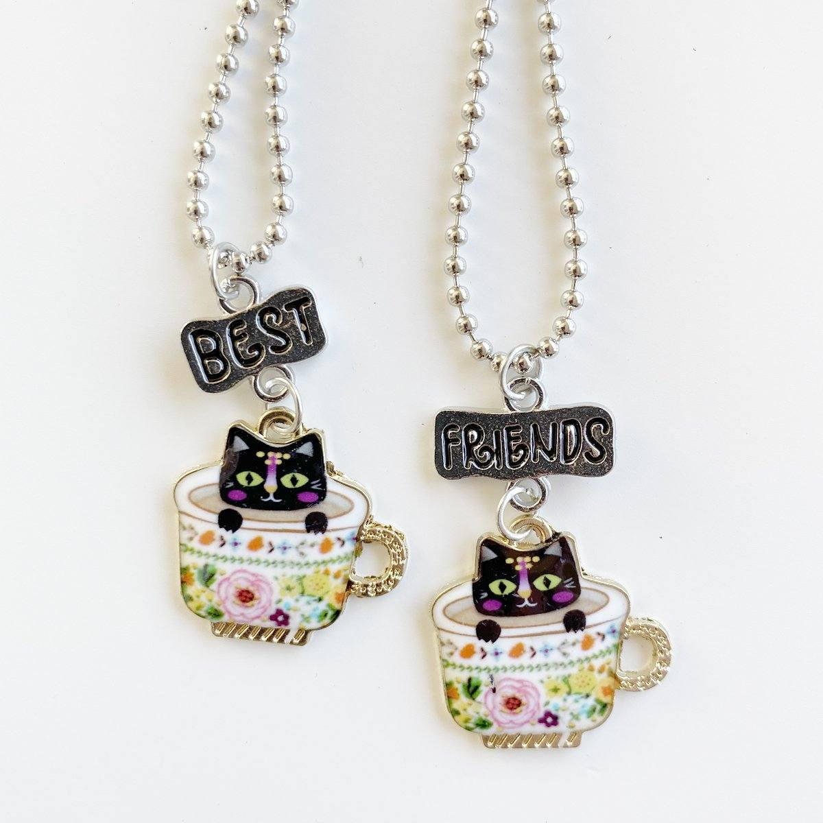 Tea Cup Cat Best Friends Necklace