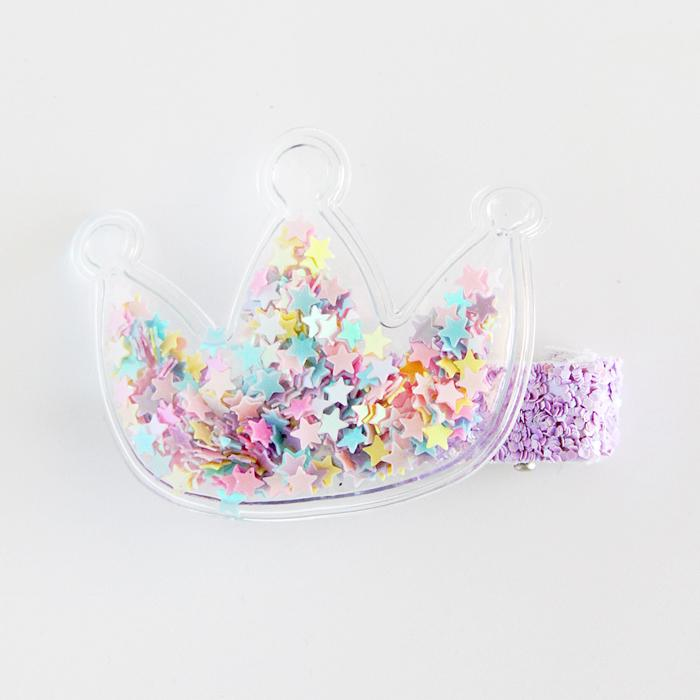 Clear Crown Sequin Hair Clip (Pastels)