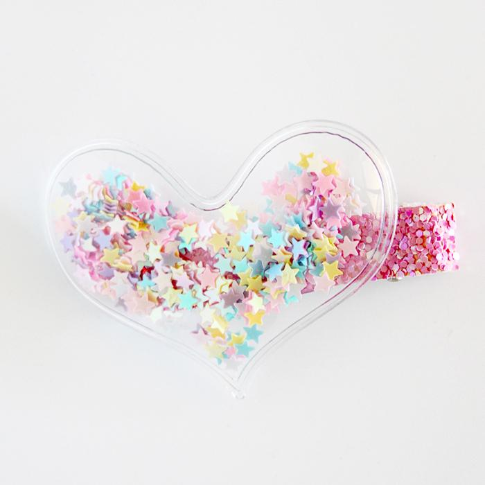 Clear Heart Sequin Hair Clip (Pastels)