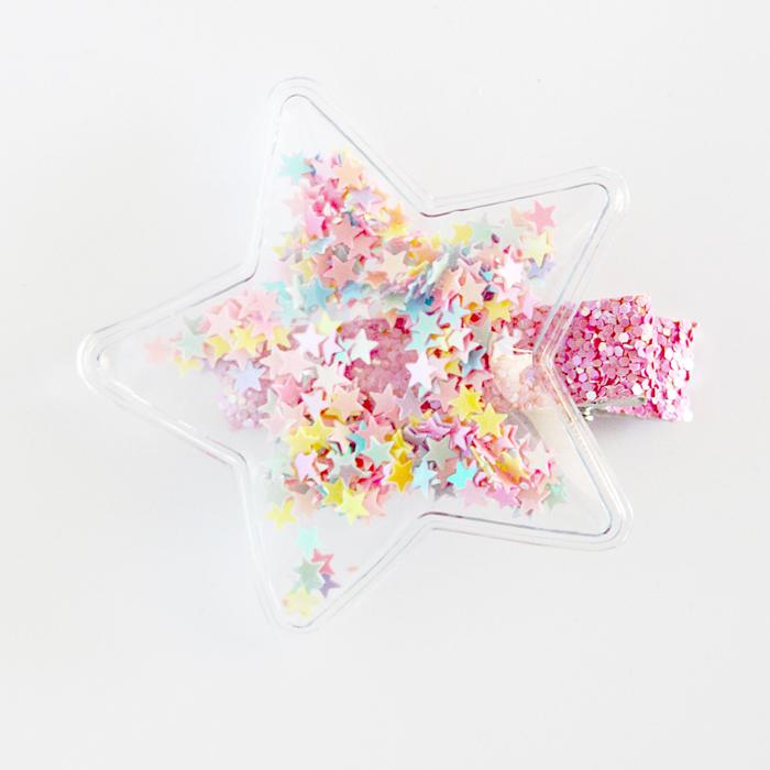 Clear Star Sequin Hair Clip (Pastels)