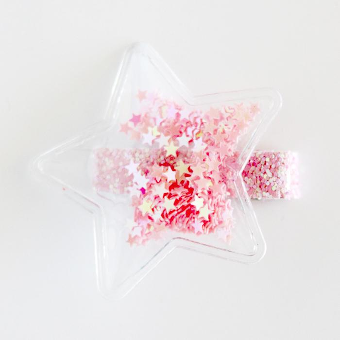 Clear Star Sequin Hair Clip (Pinks)