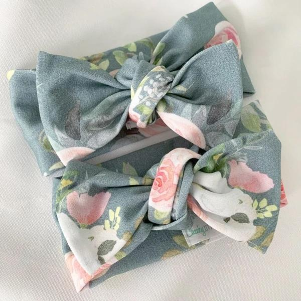 Teal Floral Bow Knot