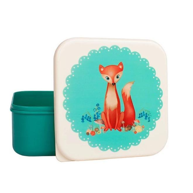 Lunch Snack Box (Turquoise Fox)