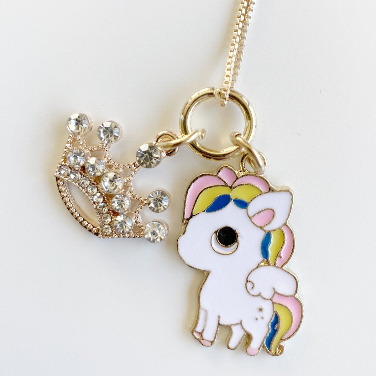 Unicorn & Crown Charm Necklace