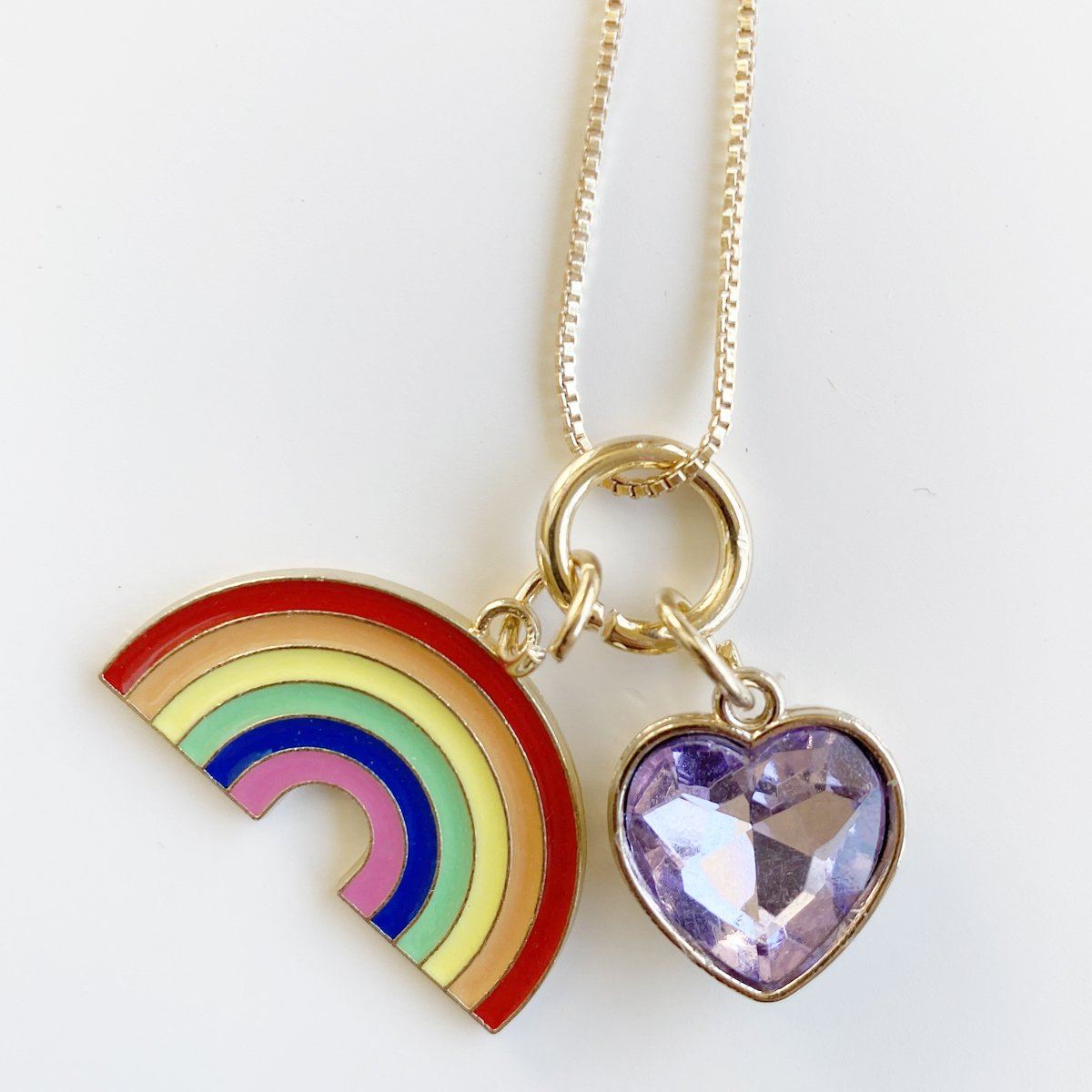Rainbow & Heart Charm Necklace