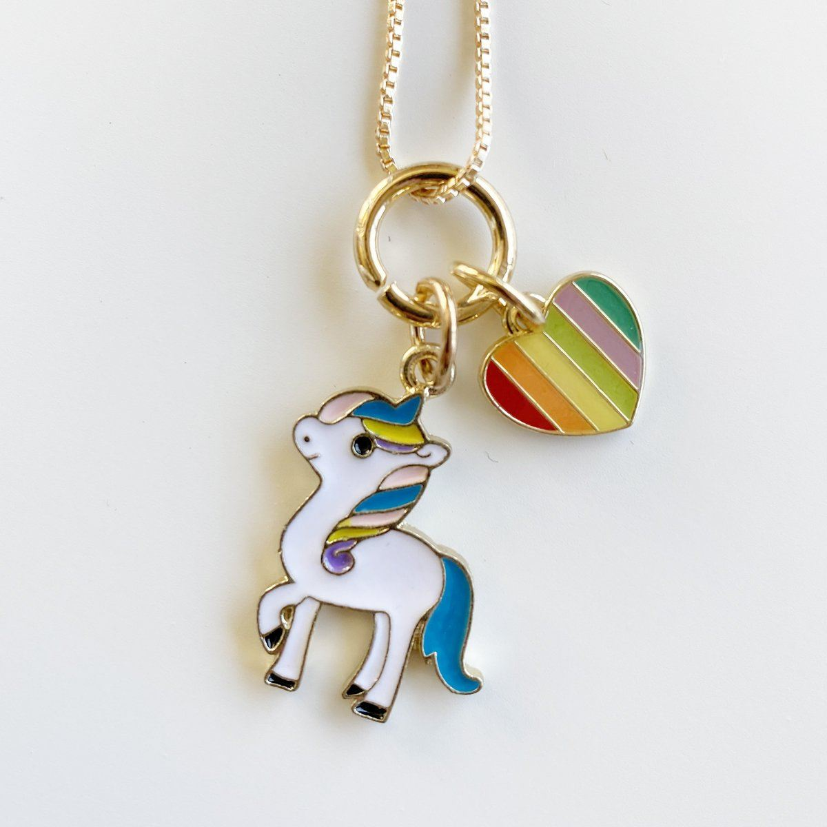 Unicorn & Heart Charm Necklace