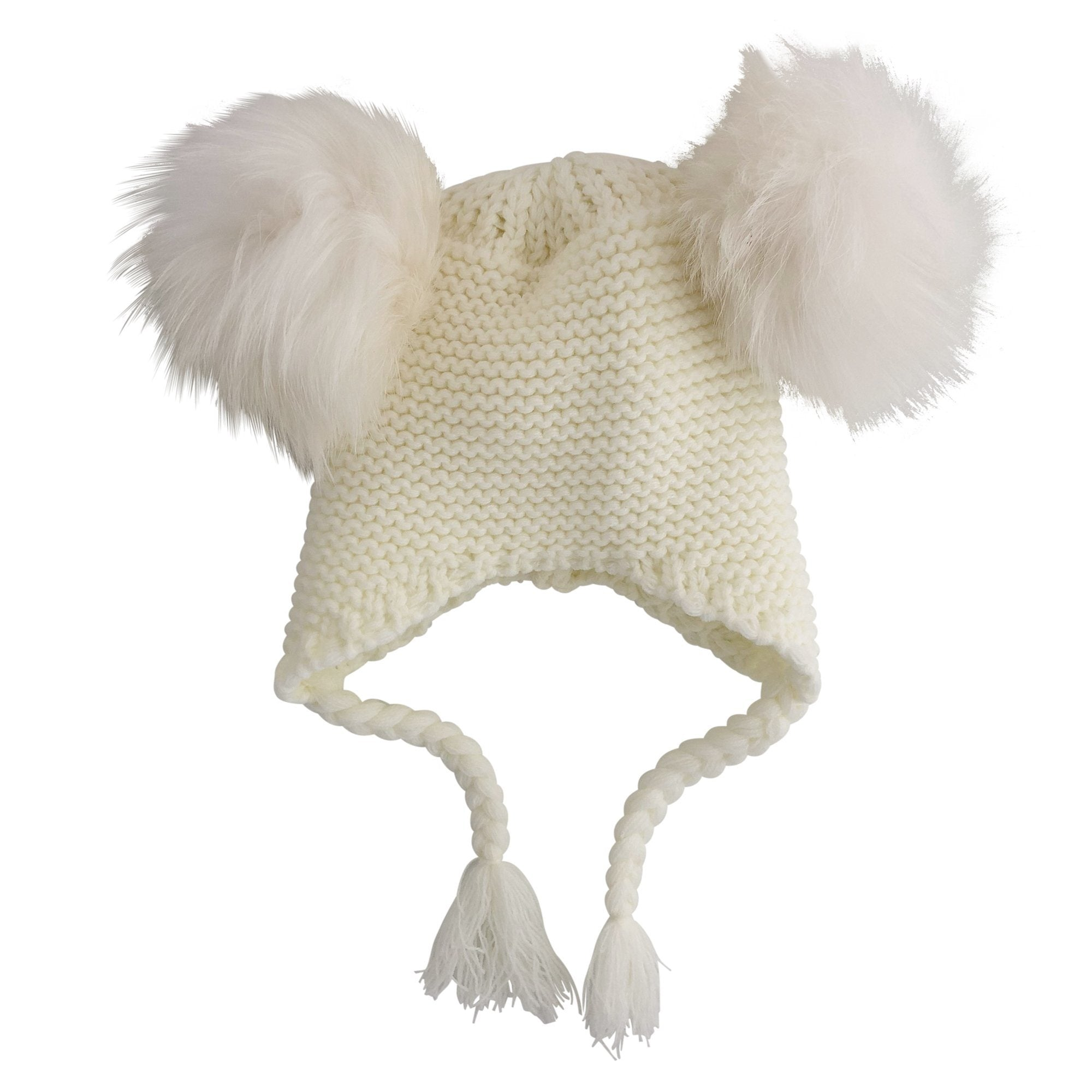 Double Pom Pom Knit Beanie (Cream)