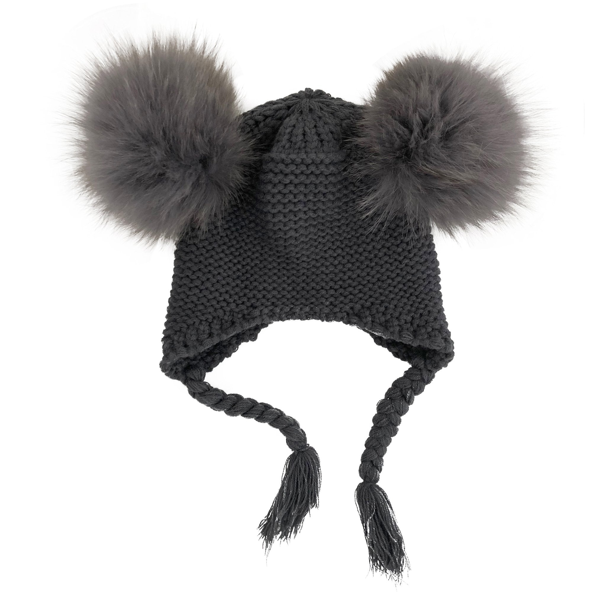 Double Pom Pom Knit Beanie (Dark Grey)