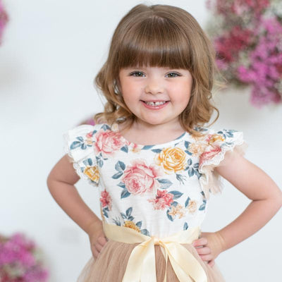 Florence Floral SS Tutu Dress (Pink/Gold)