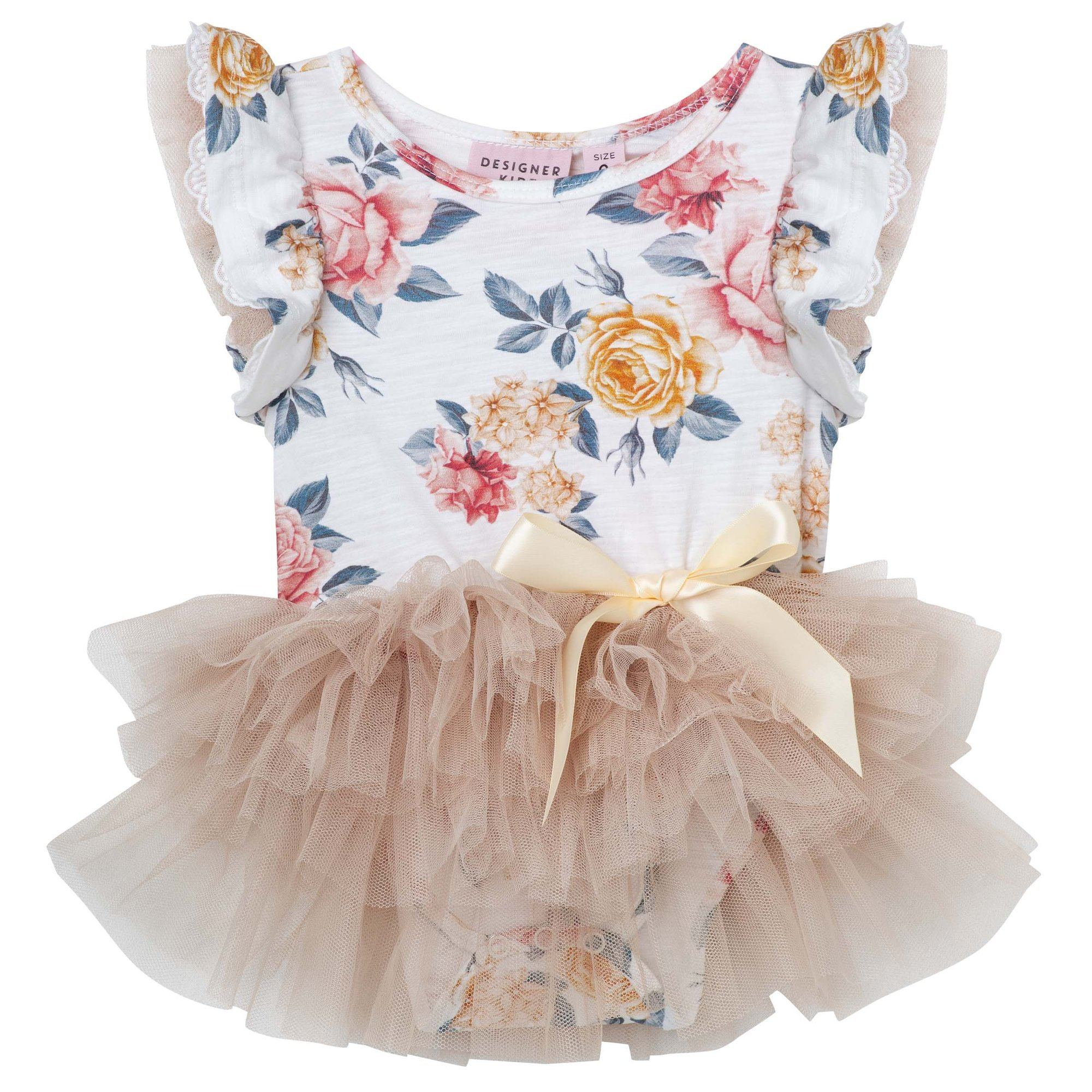 Florence Floral SS Petti Romper (Pink/Gold)