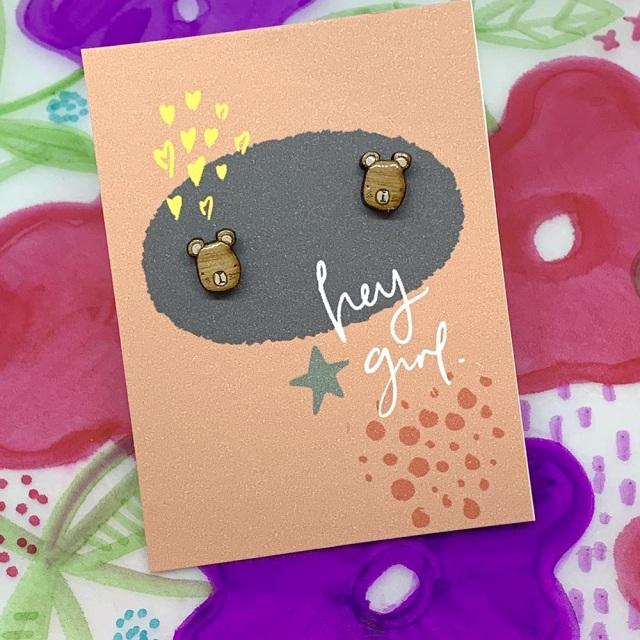 Hey Girl Earrings (Bear)