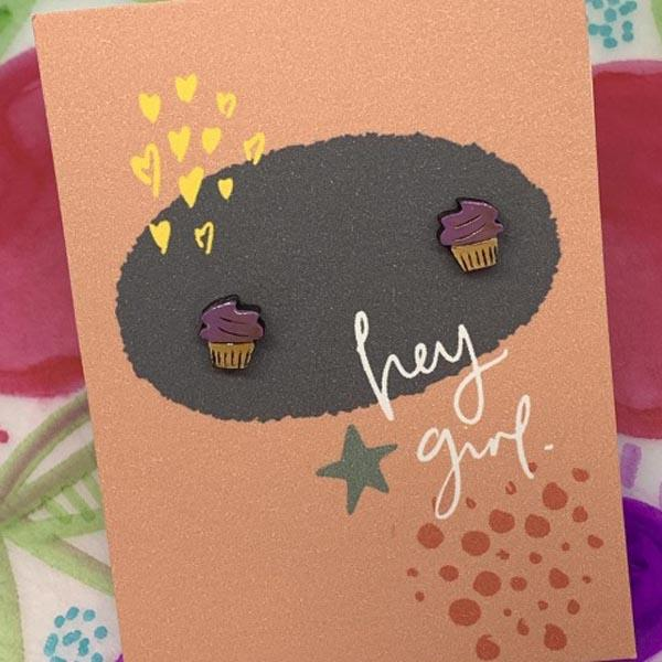 Hey Girl Earrings (Cupcake)