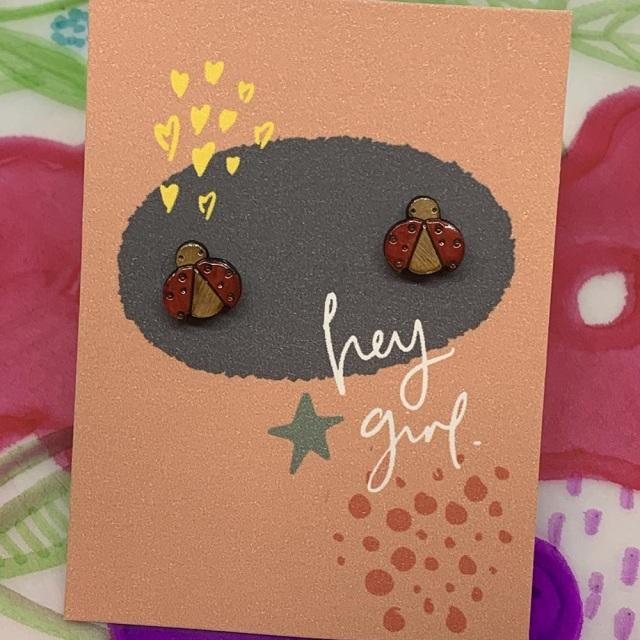 Hey Girl Earrings (Ladybird)