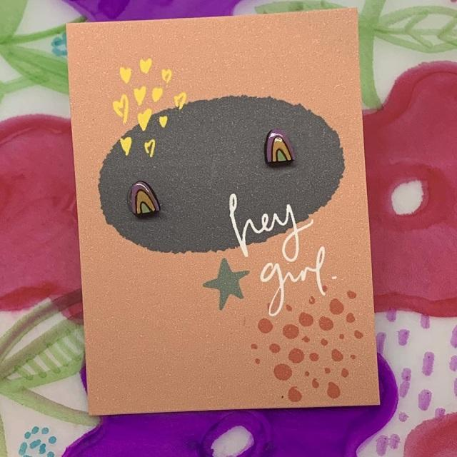 Hey Girl Earrings (Rainbow)