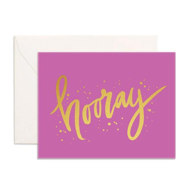 Hooray Fucshia Greeting Card