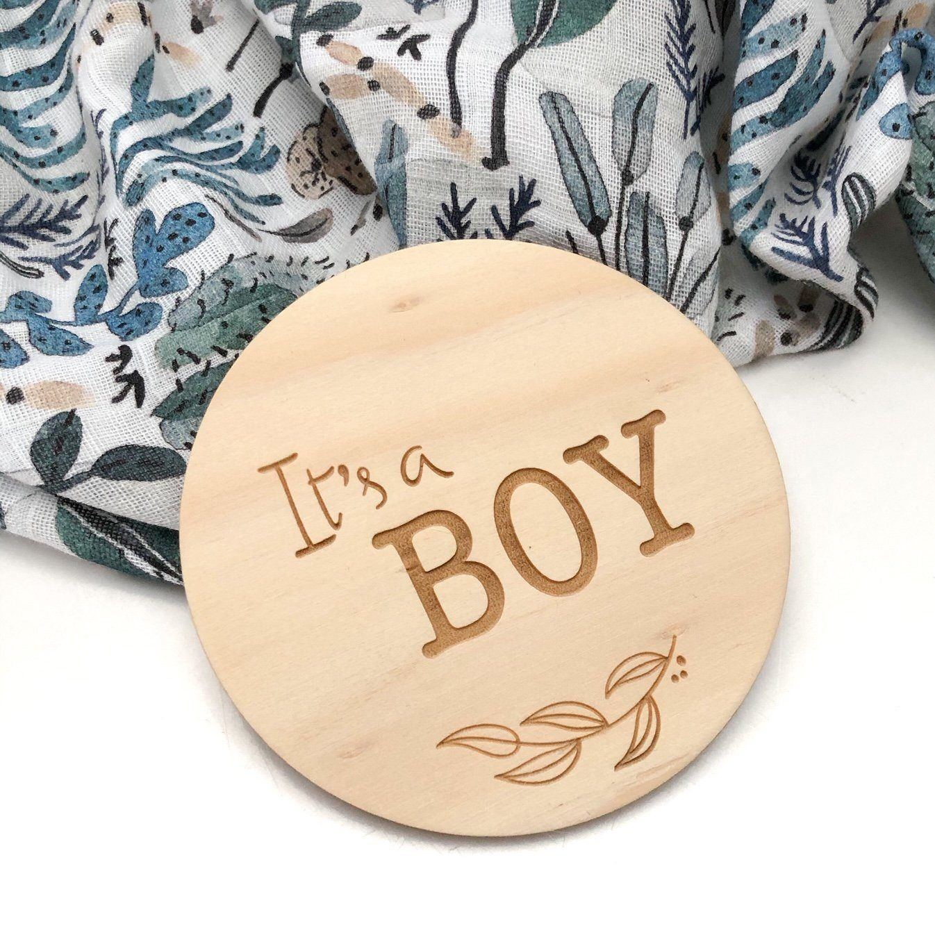 Baby Wooden Plaque (Boy Foliage)
