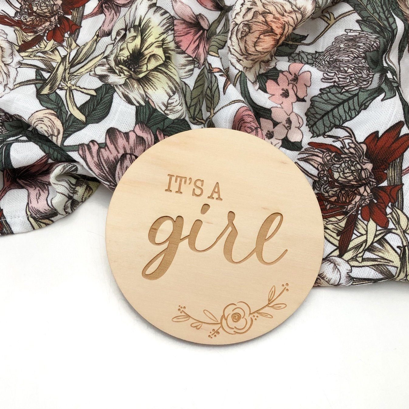 Baby Wooden Plaque (Girl Floral)