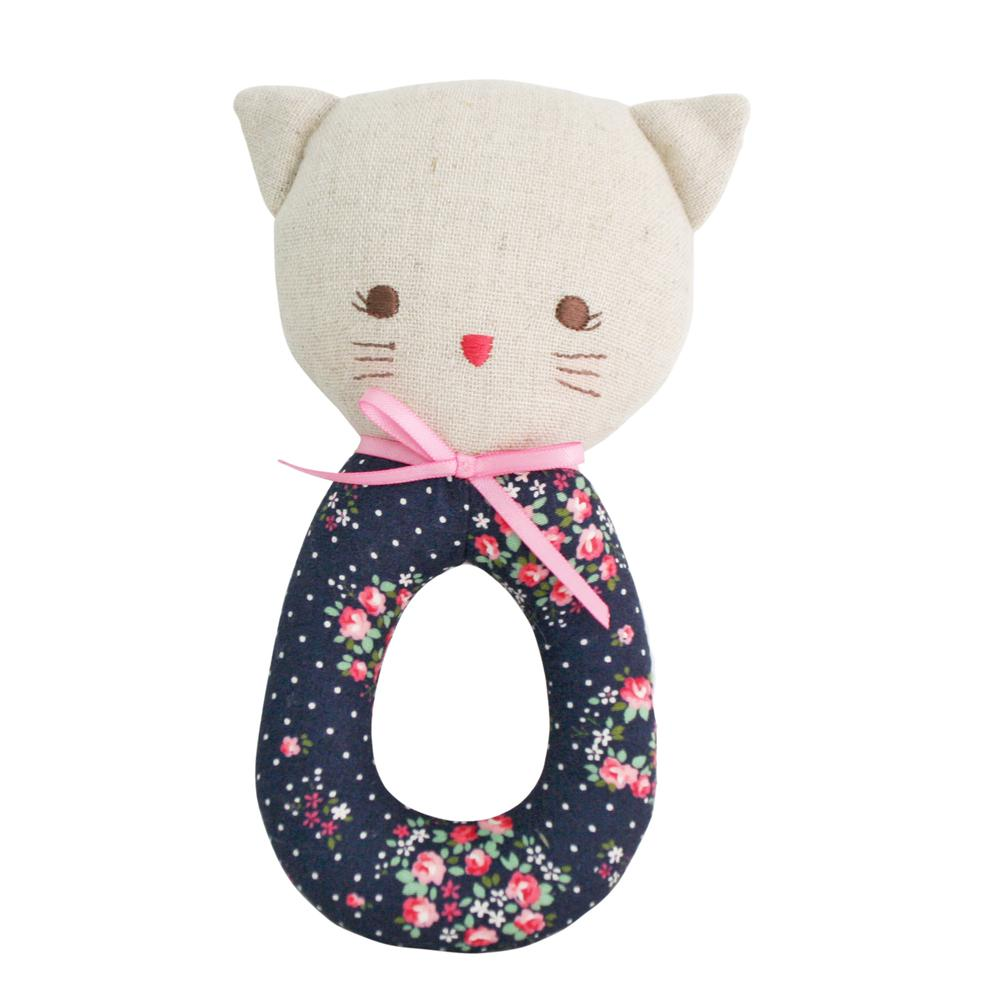 Kitty Grab Rattle (Midnight Floral)