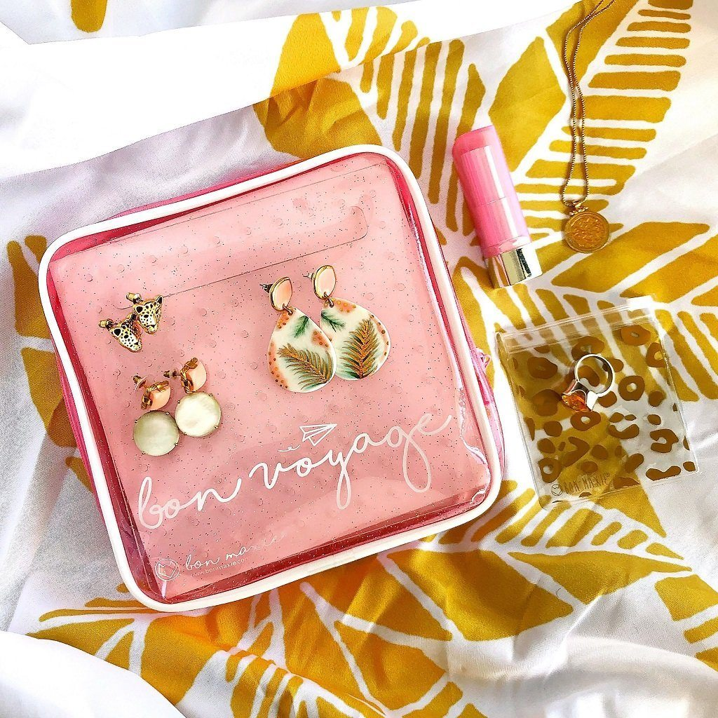 Bon Voyage Travel Earring Holder (Pink Glitter)