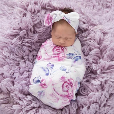 Lilac Skies Snuggle Swaddle & Top Knot