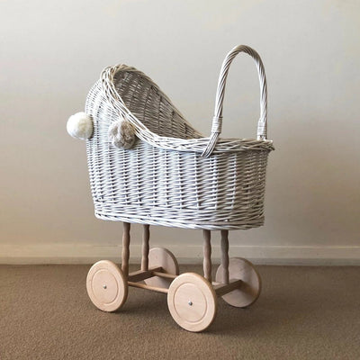 Wicker Pom Pom High Dolls Pram (White)