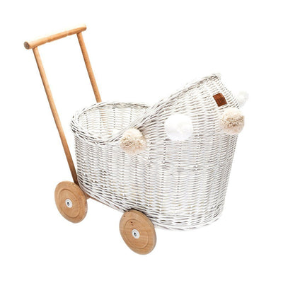 Wicker Pom Pom Dolls Pram (White)