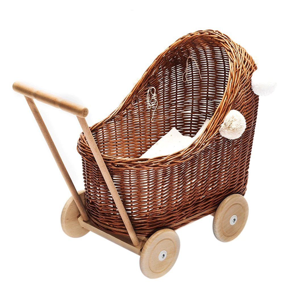 Wicker Pom Pom Dolls Pram (Natural)