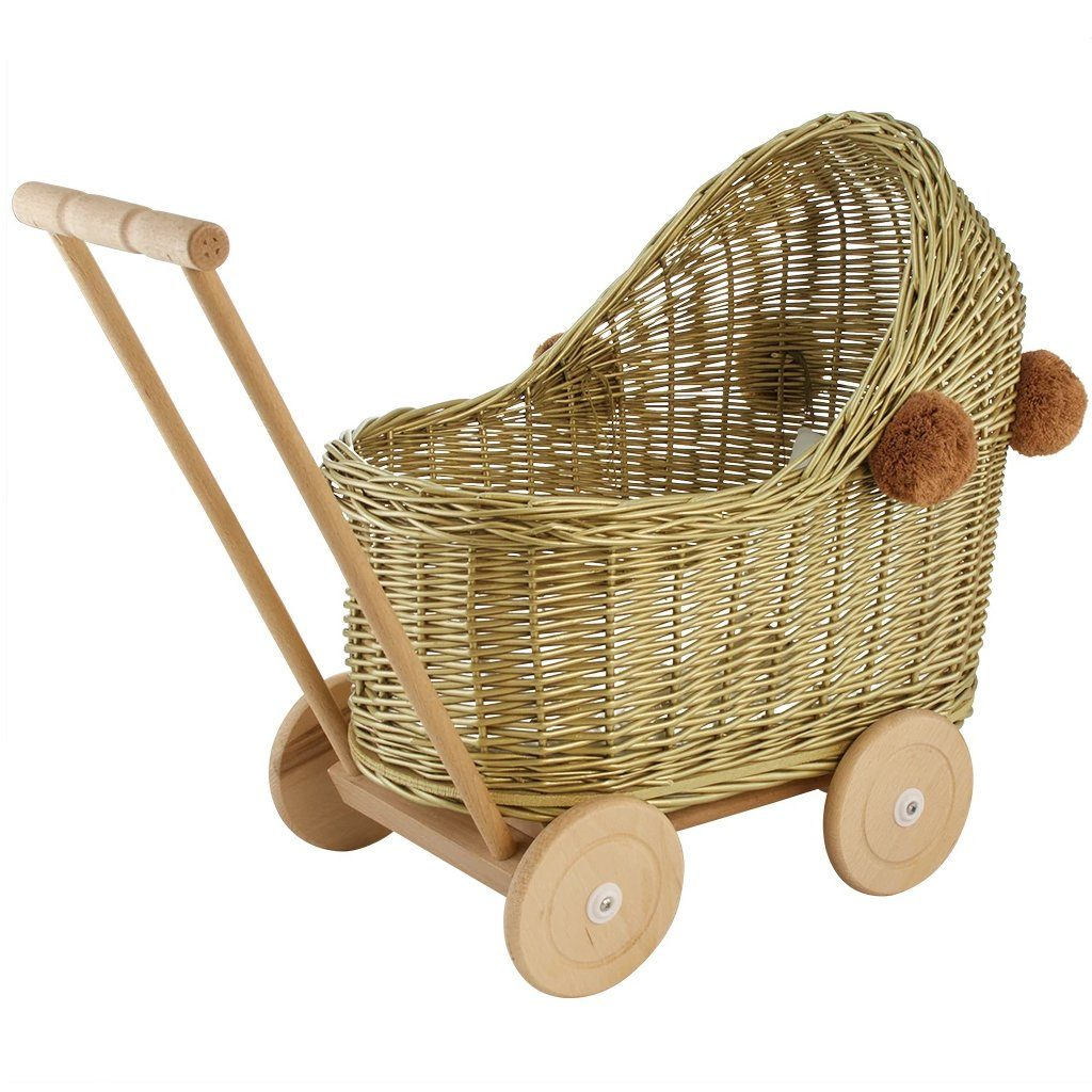 Wicker Pom Pom Dolls Pram (Gold)