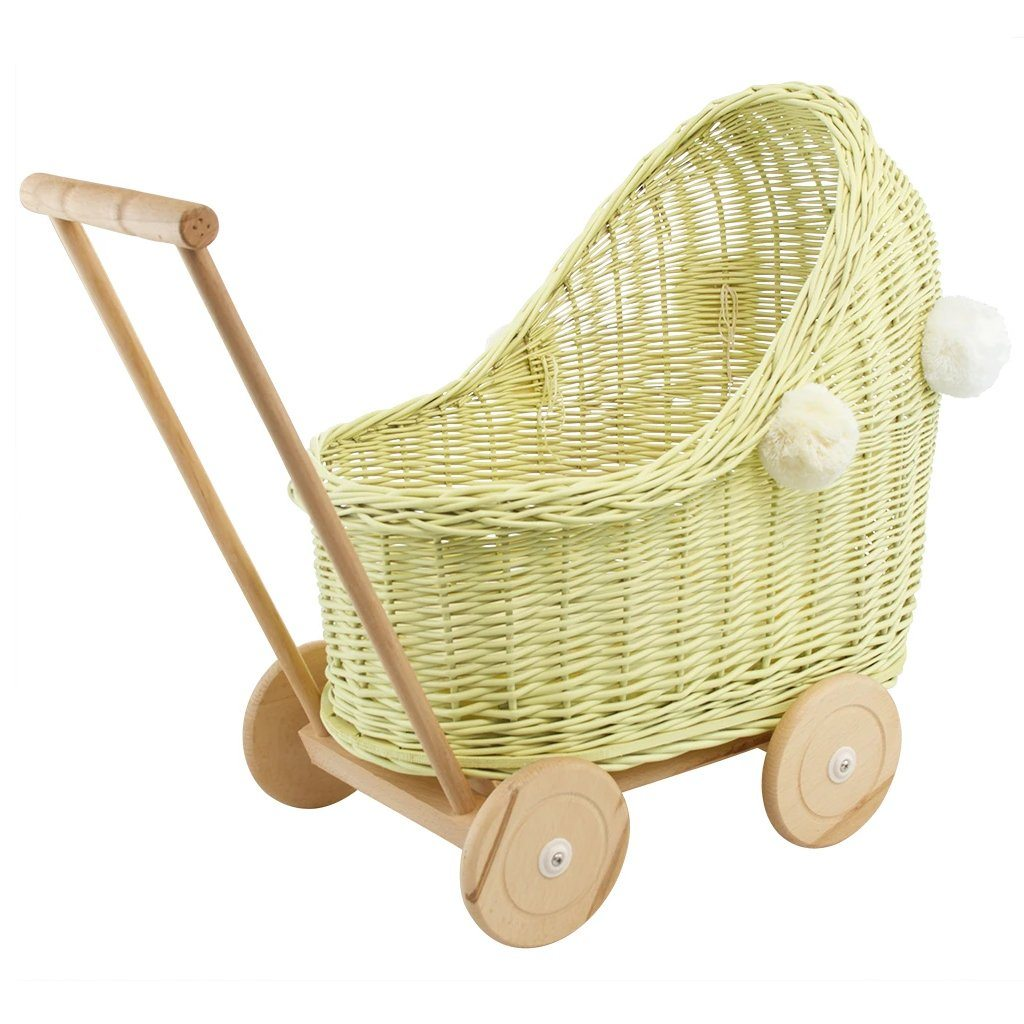 Wicker Pom Pom Dolls Pram (Lemon)