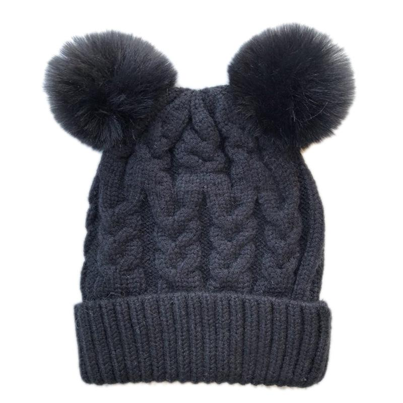 Double Pom Pom Beanie (Ink)