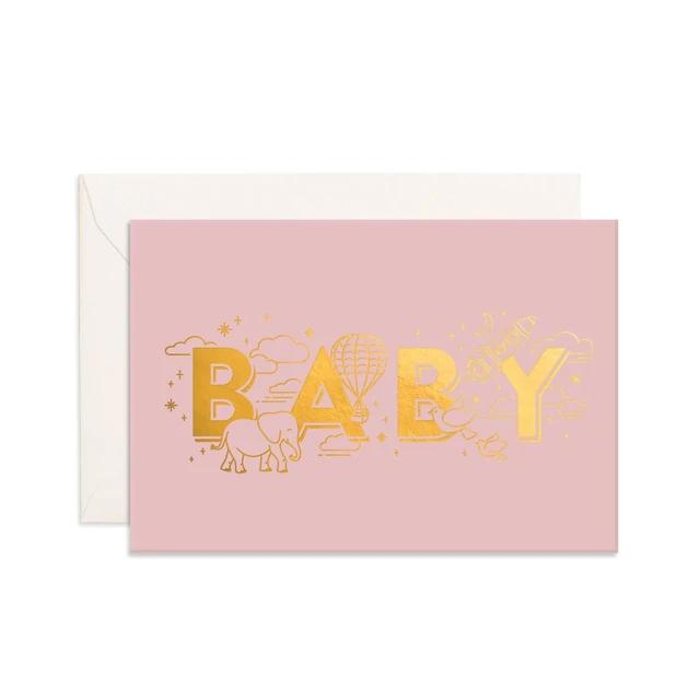 Pink Baby Universe Mini Greeting Card