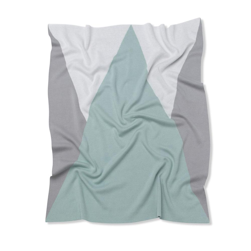 Triangles Baby Blanket (Mint/Grey/White)