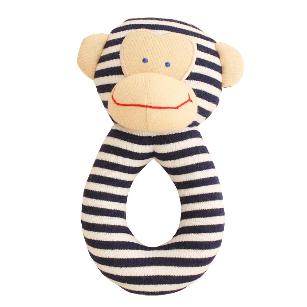 Monkey Grab Rattle (Navy)