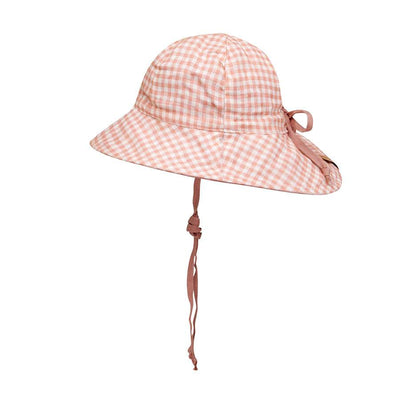 Girls Reversible Sun Hat (Gingham/Rosa)
