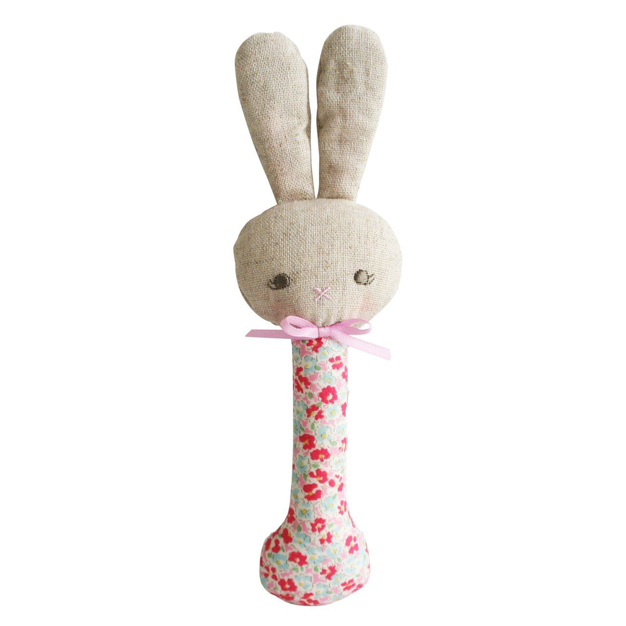 Rosie Bunny Stick Rattle (Sweet Floral)