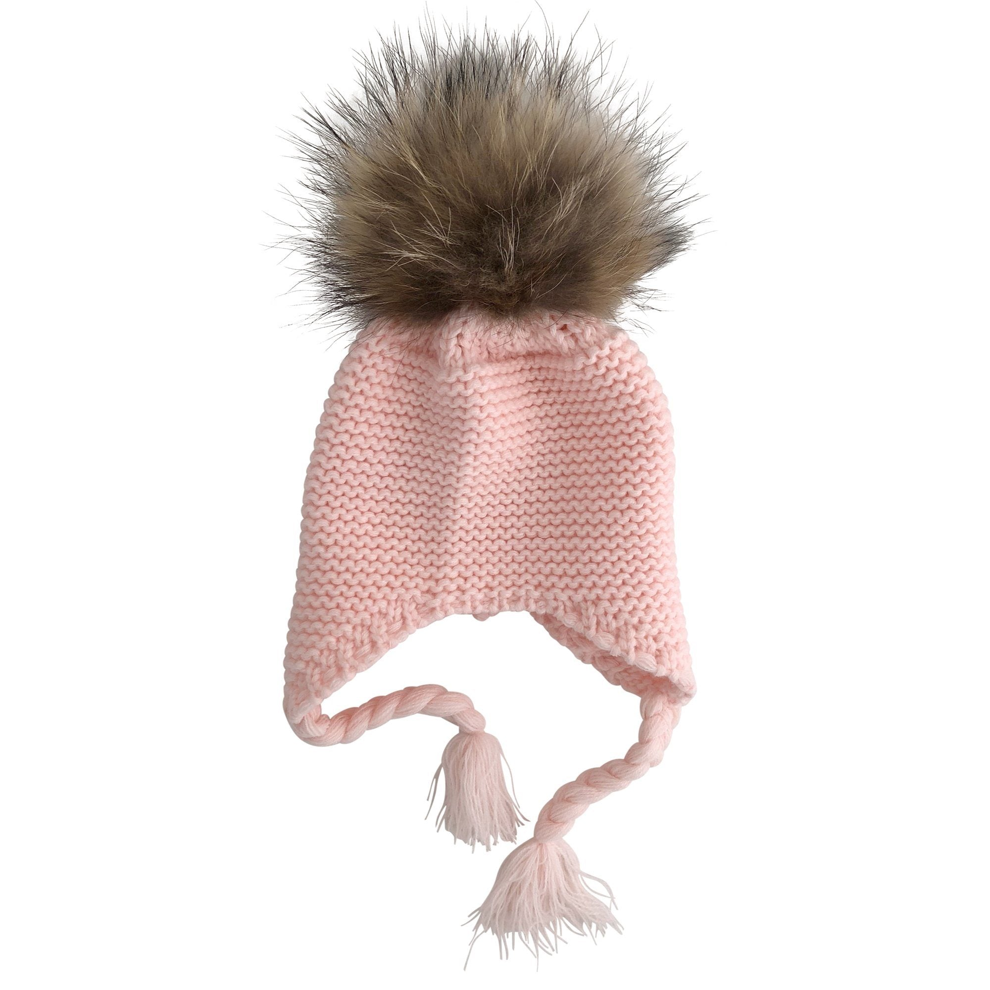 Single Pom Pom Knit Beanie (Baby Pink)