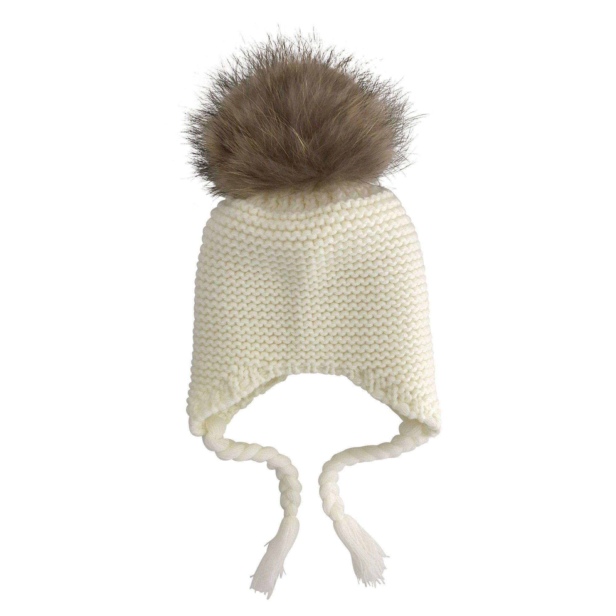 Single Pom Pom Knit Beanie (Cream)